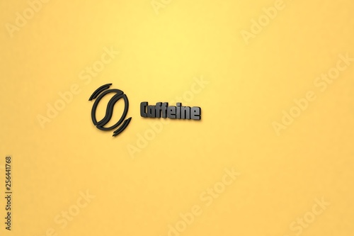 Fotografie, Obraz  3D illustration of Caffeine, dark color and dark text with yellow background