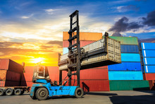 Forklift Container Loading And Unloading Cargo Into The Import-export Zone