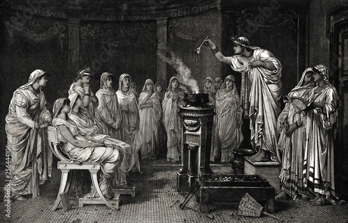 The school of vestals - Illustration from 1884 Canvas Print