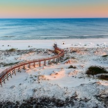 View Of The Beach With Wooden Walkway, Beach And Gulf Waters 2