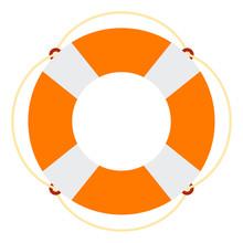 Marine Lifebuoy Vector Icon Flat Isolated