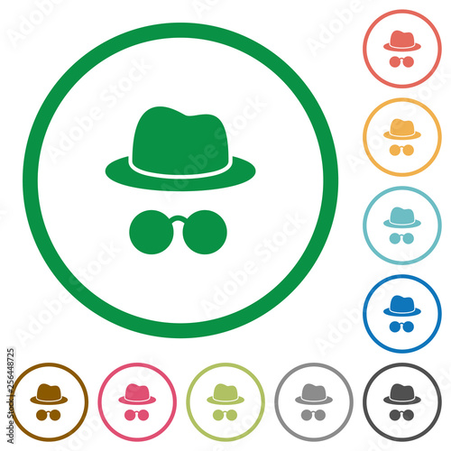 Fotografía  Incognito with glasses flat icons with outlines