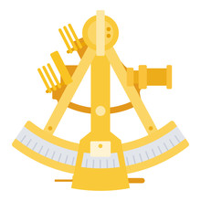 Sea Sextant Vector Icon Flat Isolated