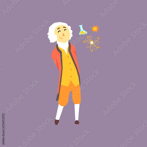 Cartoon character of Isaac Newton - famous physicist and mathematician in the history Canvas Print