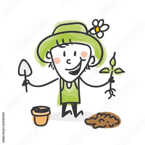 Obraz na plátně Garten Strichfiguren: Blumentopf, pflanzen (5)