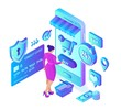 Online shopping. 3D isometric online store. Shopping Online on Website or Mobile Application. Woman customer character. E-commerce sales. Bank card, money and shopping bag. Vector illustration.
