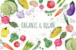 Leinwanddruck Bild - Set of vegetables, hand drawn watercolor