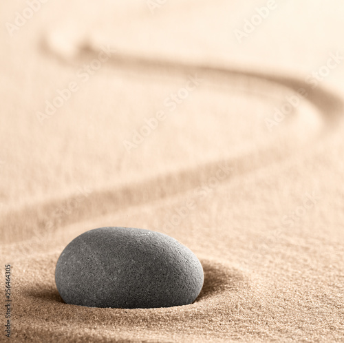 Foto op Plexiglas Stenen in het Zand Zen meditation Japanese stone and sand garden with raked line. Concept for concentration and focus for purity, harmony and balance. Background with copy space. .