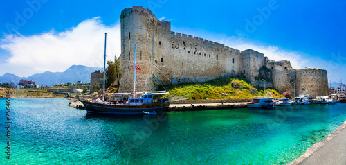 Landmarks of Cyprus - Kyrenia old town , medieval fortress in northen turkish part