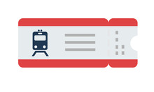 Train Ticket Vector Flat Isolated