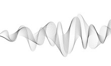Sound Wave Vector Background. Audio Music Soundwave. Voice Frequency Form Illustration. Vibration Beats In Waveform, Black And White Color. Creative Concept