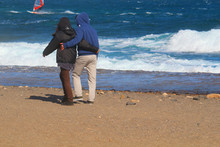 Couple In Love Walking Togethe...