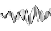 Digital Sound Wave Vector Banner Background. Audio Music Soundwave. Voice Frequency Form Illustration. Vibration Beats In Waveform, Black And White Color. Sonic Creative Concept
