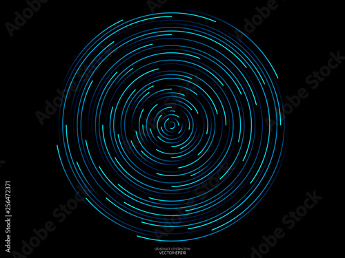 Obraz na plátne Abstract orbits circle ring movement line in blue green light isolated on black background