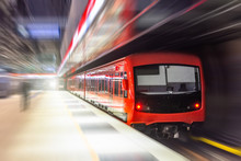 Passing Underground Train To The Tunnel On The Subway Platform, Motion Blur.