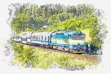 Watercolor Sketch Or Illustration Of Modern Passenger Train. Transportation Of People Or Passengers By Train