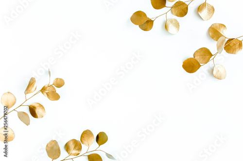 Garden Poster Floral Borders of the frame of gold branches, eucalyptus leaves on a white background. flat layout, top view