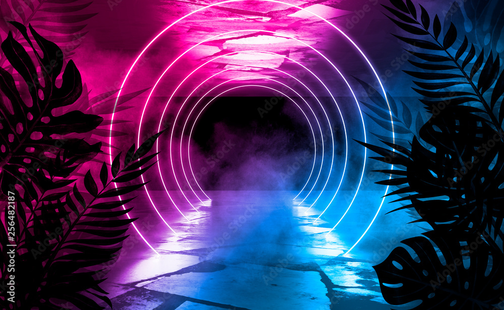 Empty scene background, abstract background with multicolored bokeh and neon lights. Silhouettes of tropical leaves