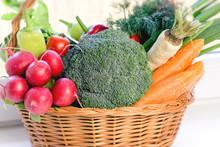 Healthy Eating, Vegetarian Food, Fresh Organic Vegetable In Wicker Basket