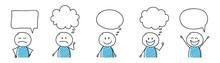 Cartoon People With Empty Speech Bubbles - Set. Vector