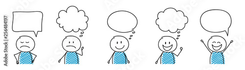 Cartoon people with empty speech bubbles - set. Vector Fototapete
