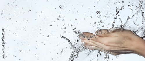 Cuadros en Lienzo woman hand in water splash
