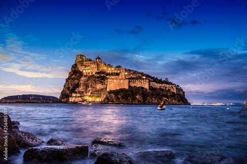 Ischia - Castello Aragonese al tramonto sul mar Mediterraneo