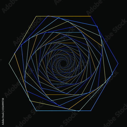 Poster Psychedelique hexagon linear art