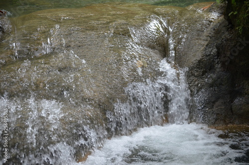Tropical Waterfall Isolated Close Up in Jamaica Caribbean West Indies