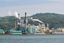 Paper Mill Factory Near A Sea ...