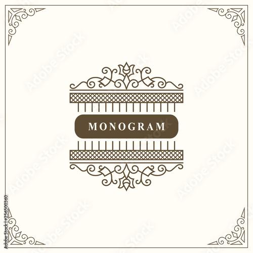 Fototapety, obrazy: Monogram Graceful Template. Elegant Line Art Logo Design. Vintage Emblem for Luxury Crest, Royalty, Business Card, Boutique, Hotel, Restaurant. Frame for Label. Calligraphic Vintage Border. Vector