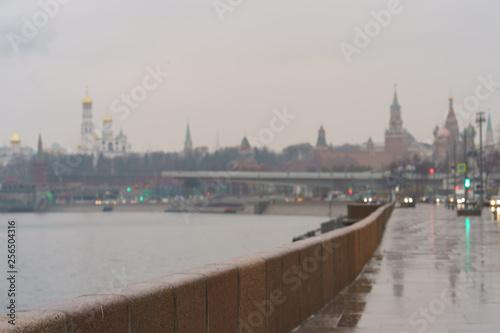 Photo  Defocused image of Moscow Kremlin, Ivan the Great Belltower, and Spasskaya tower