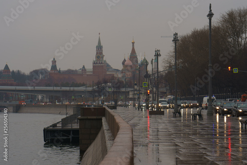 Moscow Kremlin, Spasskaya tower and road to them at rainy spring day Canvas Print