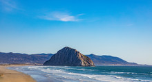Scenic Beach With Rock At Morro Bay