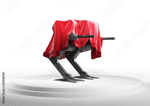 Photo  Presentation of futuristic robot policeman or armed drone on white podium