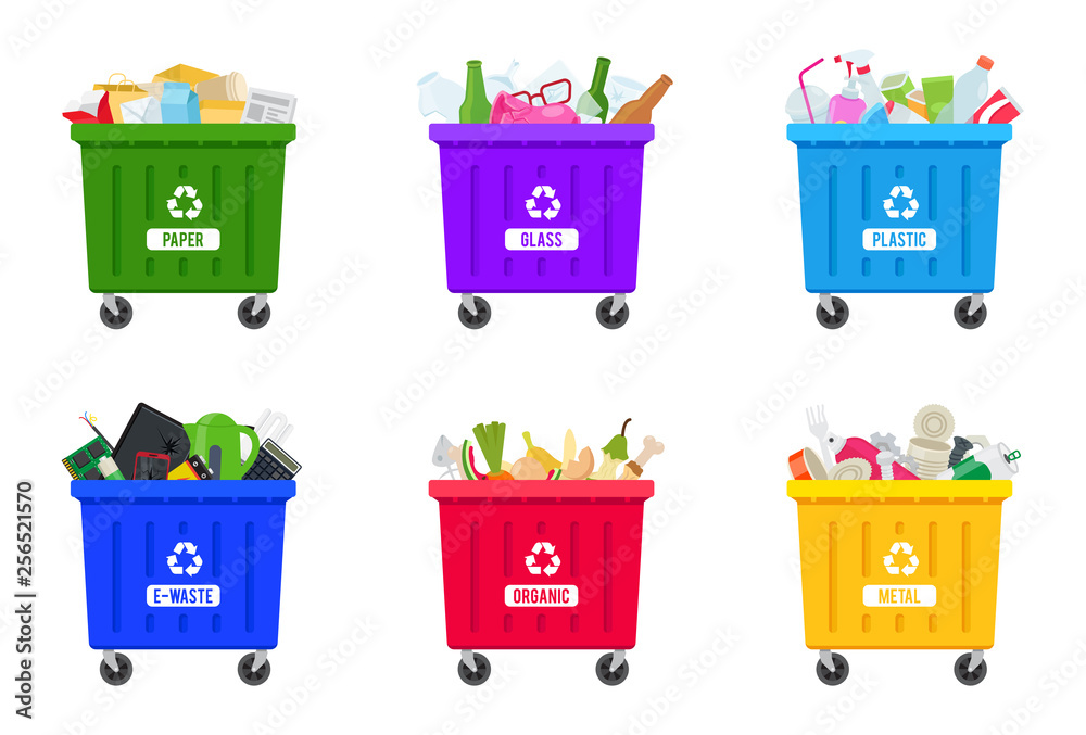 Fototapeta Trash containers with sorted trash: e-waste, paper, glass, plastic, organic, metal. Trash bins full of trash. Flat vector illustration, isolated on white.