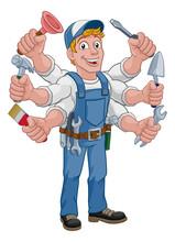 Handyman Cartoon Property Care...