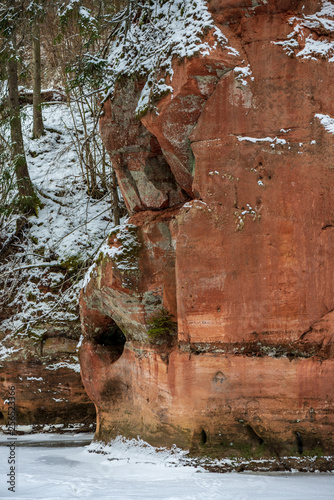 sandstone cliffs with natural caves