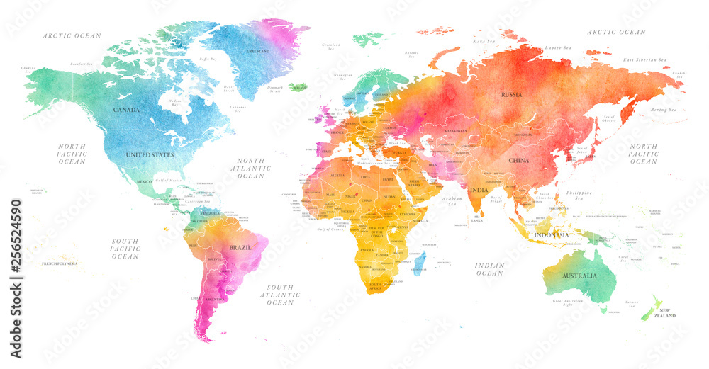 Fototapeta High detailed Multicolor Watercolor World Map Illustration with borders, oceans and countries on white Background, Side View.