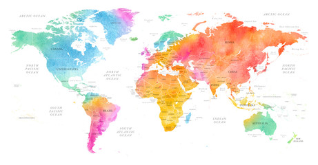 High detailed Multicolor Watercolor World Map Illustration with borders, oceans and countries on white Background, Side View.