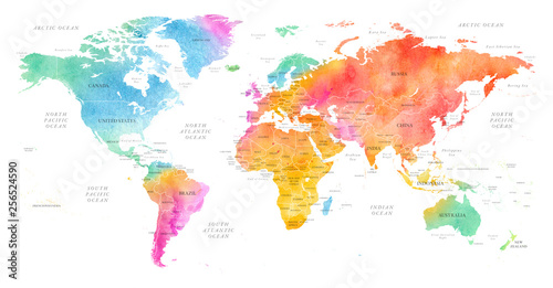 Fototapeta High detailed Multicolor Watercolor World Map Illustration with borders, oceans and countries on white Background, Side View. obraz