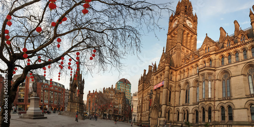 Photo Manchester Town Hall Chinese New Year lantern decorations in Manchester