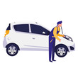 mechanic worker with car vehicle