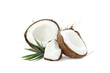 canvas print picture - Split tropical coconut isolated on white background