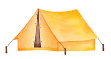 Bright Yellow Camping Tent Watercolour Drawing. One Single Object, Beautiful Joyful Color, Side View, Triangle Shape. Handdrawn Water Color Sketchy Paint On White, Cutout Clipart Element For Design.