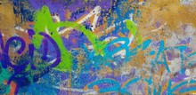 Fragment Of Graffiti Drawings. Multicolored Background Texture
