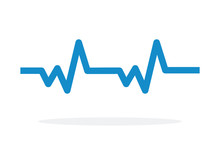 Pulse Cardiogram Vector Icon Flat Isolated