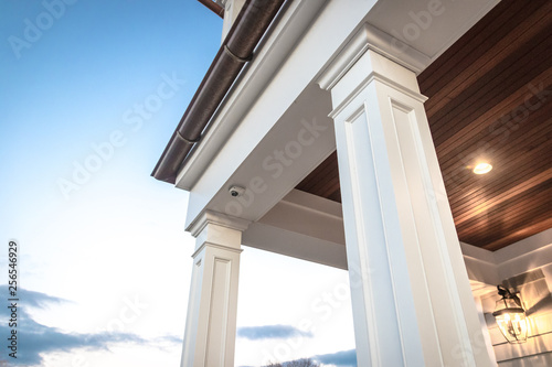 Strong columns and trim of modern home exterior. Canvas Print