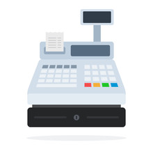 Cash Register With A Paper Che...