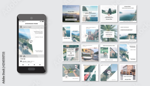 Set of Modern trendy covers idea  Editable simple info banner shop